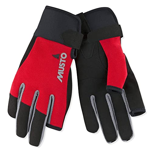 Musto Essential Sailing Yachting and Dinghy Long Finger Gloves Red - Adults Unisex - Lightweight. Breathable - Easy Stretch from Musto