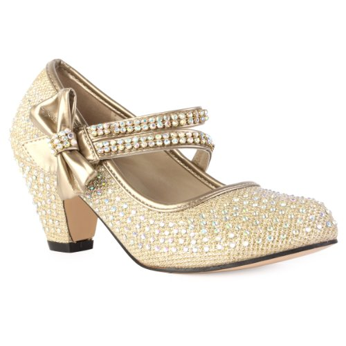 90O Girls Gold Diamante Strappy Kids Block Heel Mary Jane Style Court Shoes Size 12 from My 1st Wish