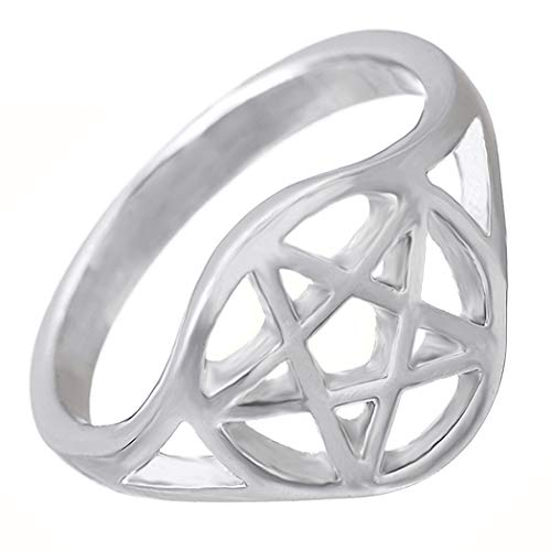My Shape Wiccan Pentacle Pentagram Ring Witchcraft Pagan Wide Band Unisex Ring for Woemn Men Size 7.5 from My Shape