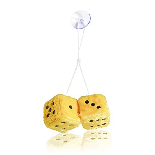 Hanging Dice, MyCreator 3 inch Pair of Retro Square Mirror Hanging Couple Fuzzy Plush Dice with Dots For Car Interior Ornament Decoration (Yellow) from MyCreator