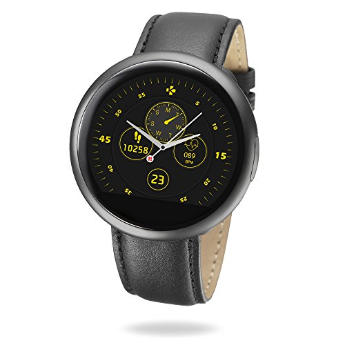 MyKronoz ZeRound2 HR Premium Smartwatch with Heart Rate Monitor/Built-in MicrophOne/Speaker - Brushed Black from MyKronoz