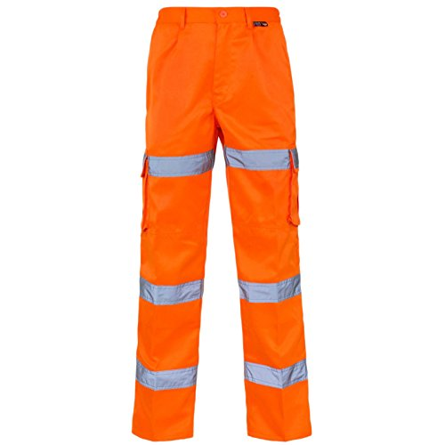 MyShoeStore Hi Viz Vis 3 Band Polycotton Trousers High Visibility Safety Work Wear Reflective Tape Stripe Workwear Combat Cargo Fluorescent Pants Bottoms Plus Big Sizes 30-52 Orange from MyShoeStore