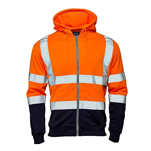 Stylo Online Hi Vis Viz 2 Tone Rugby Shirt High Visibility Sweatshirt Work Wear Safety Security Jumper Fluorescent Reflective Tape Sweat Shirt Fleece Top Sizes S-4XL