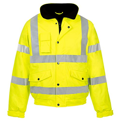 Hi Viz Bomber Jacket Two Tone Reflective Tape Waterproof Quilted Work Jacket Coat High Vis Visibility Safety Workwear Security Road Works Concealed Hood Fluorescent Flashing Top (Yellow, 3XL) from MyShoeStore