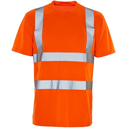 Hi Viz Vis Round Crew Neck T-Shirts High Visibility Reflective Tape Safety Security Work Bird Eye Short Sleeve T Shirt Breathable Lightweight Double Tape Workwear Top (Crew Neck Orange, 4XL) from MyShoeStore