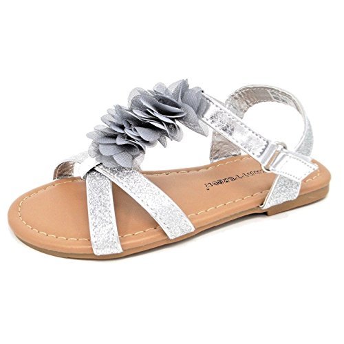 Girls Summer Sandals Flat Beach Shoes Flip Flops Lightweight Comfy Bridesmaid Wedding Party Casual Toddlers Childrens Kids Flats Sandal(Silver/Skylark, 5) from MyShoeStore