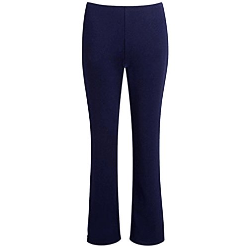MyShoeStore Ladies Stretch Bootleg Trousers Ribbed Womens Boot Cut Elasticated Waist Pants Work Wear Pull On Boot Leg Bottoms Plus Big Sizes 8-26 Navy Blue from MyShoeStore