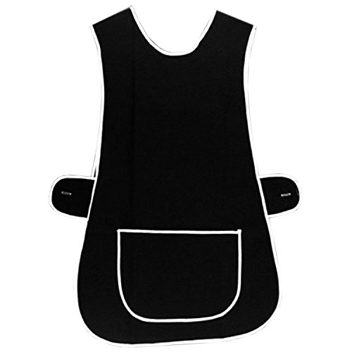 MyShoeStore Ladies Womens Tabard Home Work Kitchen Cleaning Chef Catering Cleaners Workwear Overall Piping Edge Tabbard Apron With Large Pocket Side Button Fastening Plus Big Size S-3XL from MyShoeStore