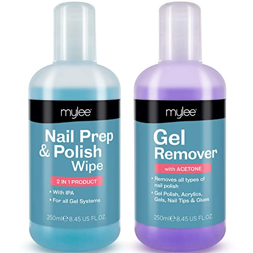 Mylee Nail Gel Polish Prep & Wipe + Gel Remover 250ml Each, Premium Salon Quality UV LED Manicure Pedicure Acetone Remover, for All Nail Polish Types, Dual Purpose For Cleansing Tacky Layer from MYLEE