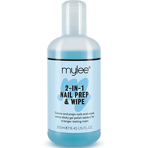 Mylee Prep + Wipe Nail Gel Polish Cleanser Cleaner Professional Sanitize Compatible With UV / LED Manicure Dual Purpose For Cleaning Nail Plate & Removing Tacky Layer 250ml from MYLEE