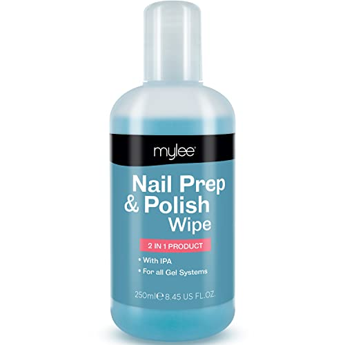 Mylee Prep + Wipe Gel Nail Polish Residue Cleaner Remover 250ml, Preparation & After Care, UV LED Manicure Gel Polish Base Wipe, Multi-Purpose for Sanitising Nail Plate & Removing Tacky Layer from MYLEE