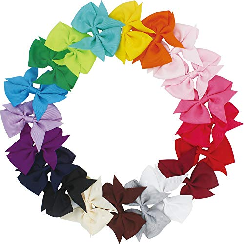 20pcs Big Hair Bows Boutique Girls Alligator Clip Grosgrain Ribbon Headband from Mylot