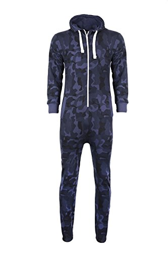 Kids Girls Boys Onesie Extra Soft Camouflage Aztec Print All in One Zip Up Hooded Tracksuit, Navy Camo, 11-12 Year from Mymixtrendz.