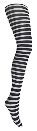 Mysasi London Children's Striped Tights-5 Colours (11-14 years, Black and White) from Mysasi London