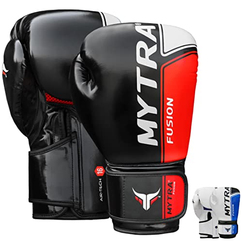 Mytra Fusion AIR TECH Boxing Gloves Synthetic Leather SL6 Black Red 10 OZ from Mytra Fusion