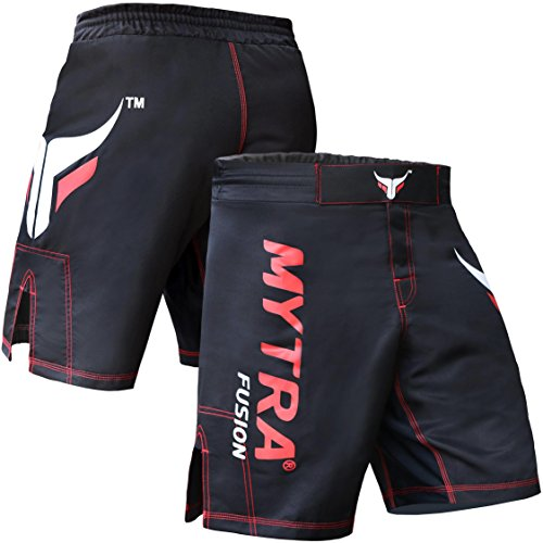 Mytra Fusion MMA Shorts MMA Boxing Kickboxing Muay Thai Mix Martial Arts Cage Fighting Grappling Training Gym wear Clothing Shorts Trunks Black,L from Mytra Fusion