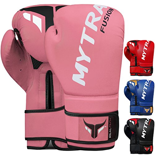 Mytra Fusion REAL TECH Boxing Gloves Synthetic Leather SL4 Pink 16 OZ from Mytra Fusion