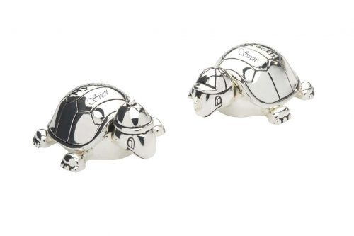 Silver-Plated Tortoises for First Lock of Hair and First Tooth with Custom Engraving for Birth or Christening from N/A