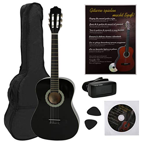NAVARRA NV12PK Classical Guitar STARTER PACK 4/4 black with cream-colored binding incl. Gig Bag with rucksack-straps and music sheet/accessories pocket, book with many hit-songs and CD, Cliptuner LCD needle-display with background illumination, 2 Picks from NAVARRA
