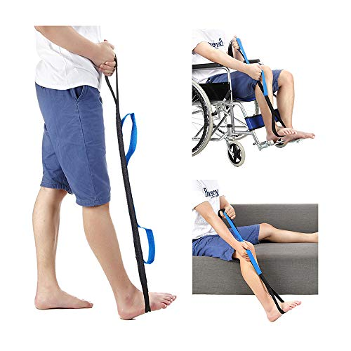 "Leg Lifter Strap Rigid Foot Lifter & Hand Grip - Elderly, Handicap, Disability, Pediatrics 37"" Mobility Aids for Wheelchair, Bed, Car, Couch, Hip & Knee Replacement from NEPPT"