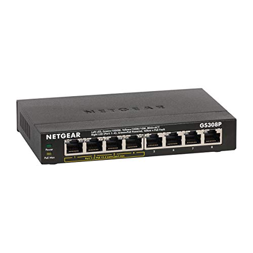 NETGEAR 8-Port Gigabit Ethernet Unmanaged PoE Switch (GS308P) - with 4 x PoE @ 55W, Desktop, Sturdy Metal Fanless Housing from NETGEAR