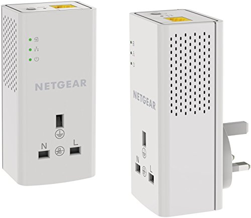 NETGEAR PLP1000-100UKS 1 Port,1000 Mbps, 1 Gigabit Port Powerline Adapter with Extra outlet - Pack of 2 from NETGEAR
