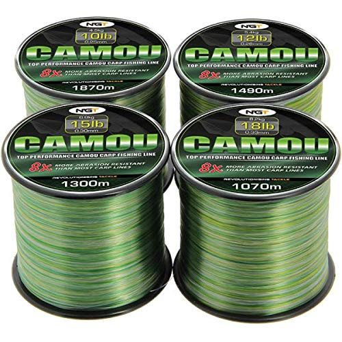 NGT Unisex's Spool of Camo Line, Green, 12 lb/1490 m from NGT