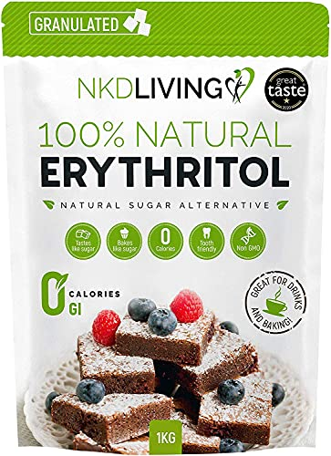 100% Natural Erythritol 1 Kg | Granulated ZERO Calorie Sugar Replacement from NKD Living