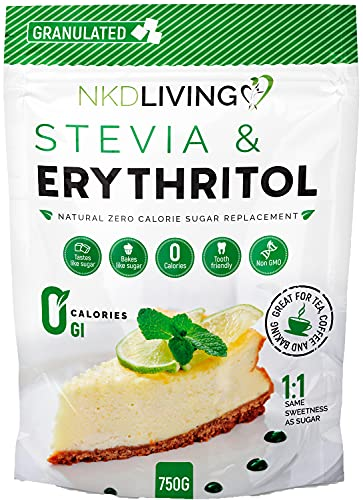 Erythritol and Stevia - Natural Sugar Alternative - 1:1 Zero Calorie Sugar Replacement - 750g from NKD Living