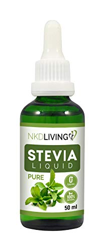 NKD Living Pure Stevia Liquid Drops 50ml (New Label Design) - Pure Stevia, Unflavoured - with glass dropper (Other flavors also available: Vanilla, Caramel, Chocolate) from NKD Living