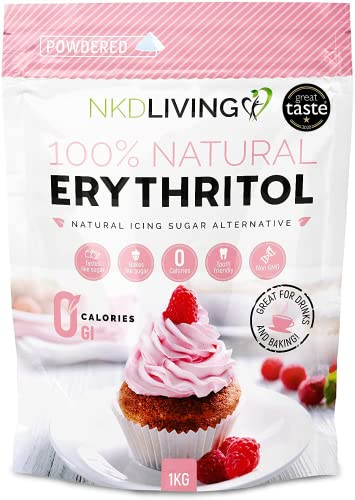 Powdered Erythritol - Zero Calorie Icing Sugar 1kg (2.2 lb) - Bag Design May Vary from NKD Living