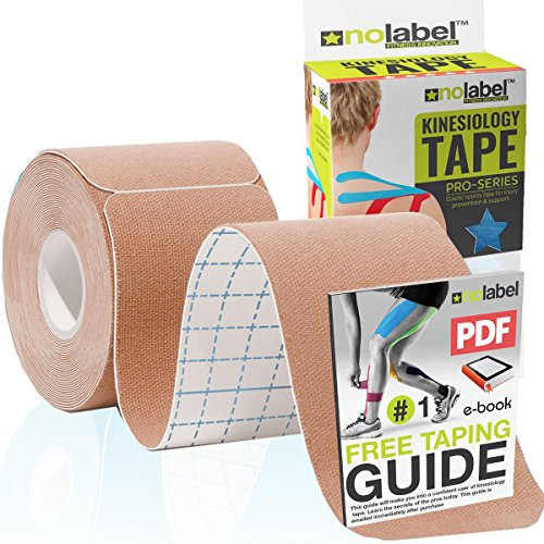 Skin Coloured Pre Cut Kinesiology Tape - Pre-Cut Beige Sport Tapes Strapping For Muscle Sports Support | Pro 5m Medical Roll No Label H20 20 x Precut Waterproof Athletic Physio Muscles Strips | FREE PDF Ebook Taping Guide from NO LABEL