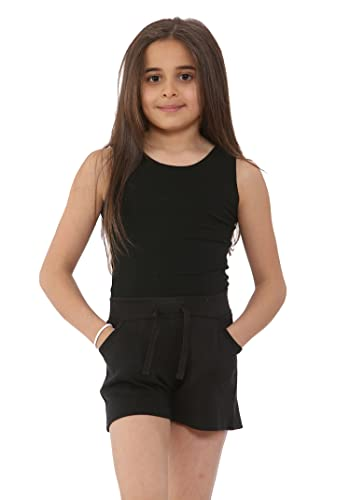 NOROZE Girls Casual Summer Cotton Holiday Shorts (Black, 7-8 years) from NOROZE