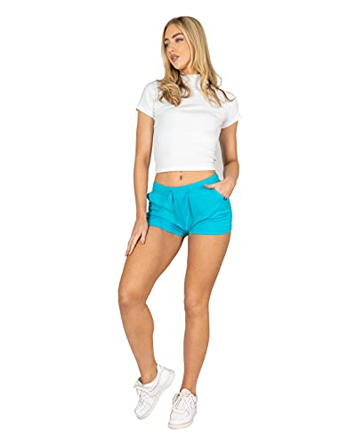 NOROZE Womens Casual Summer Holiday Cotton Shorts (Turquoise, 8) from NOROZE