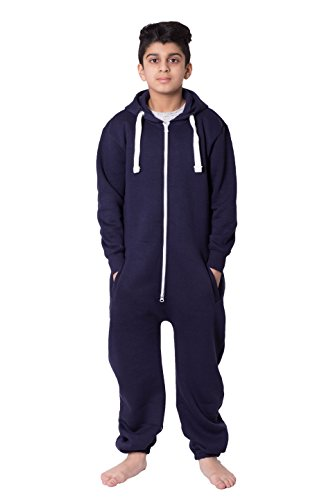 NOROZE Unisex Kids Girls Boys Plain Colour Fleece Hooded Onesie 7-13 Years Navy from NOROZE