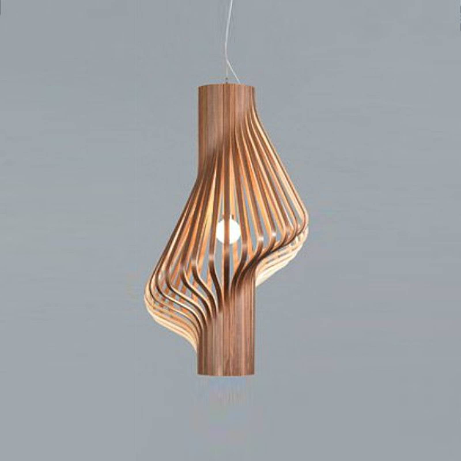 Attractive designer hanging light Diva, walnut from Northern