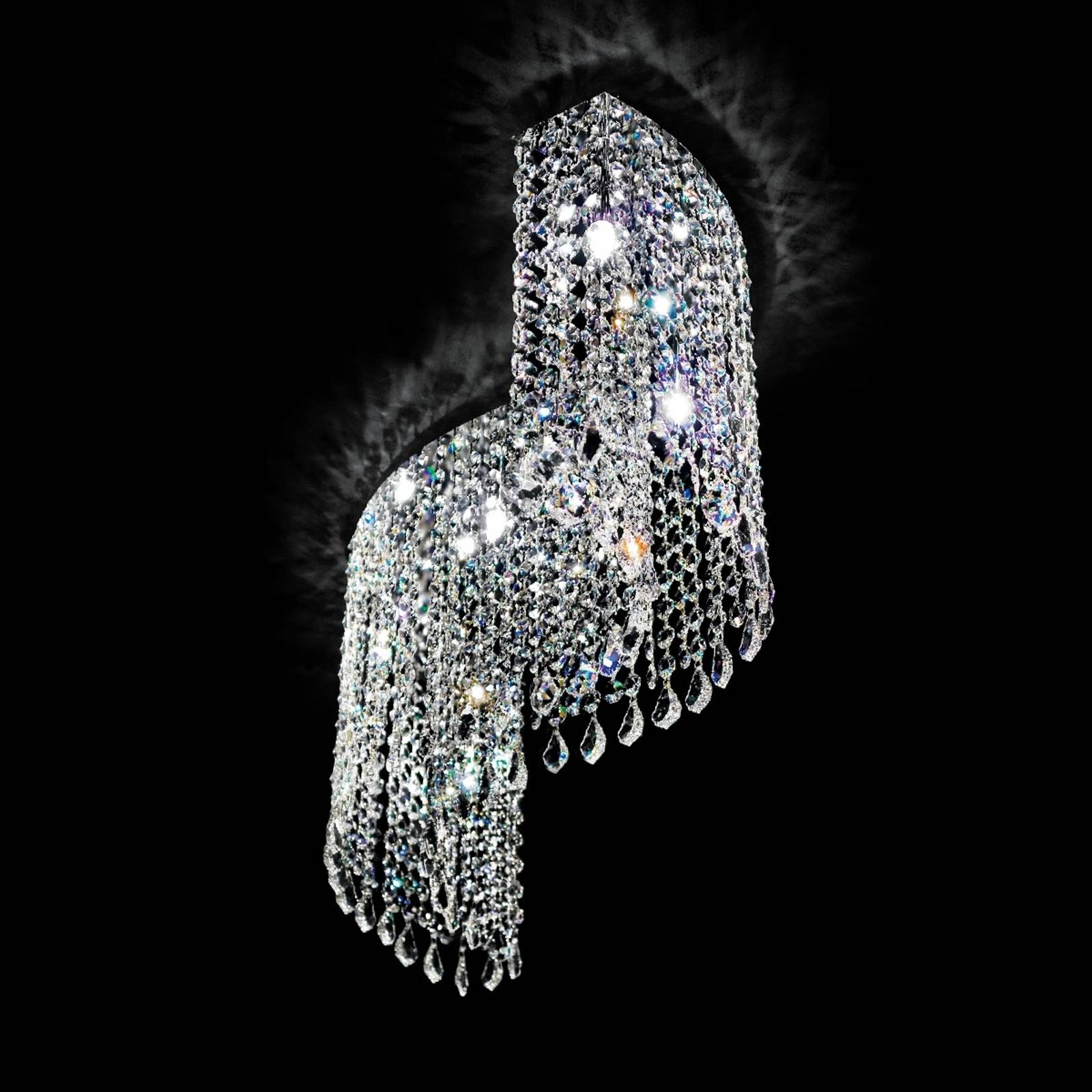 Curved crystal ceiling light Shine from NOVARESI