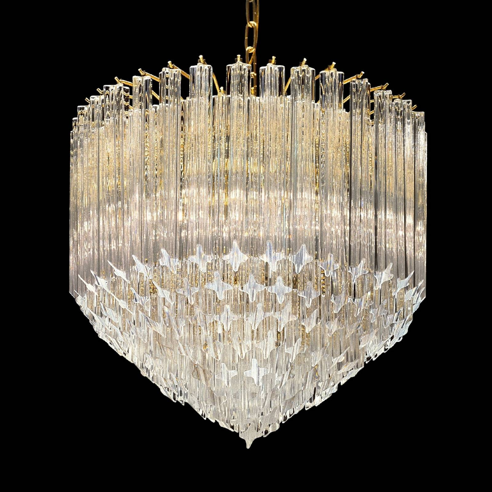 Large crystal light Pigna, 24 carat gold-plated from NOVARESI