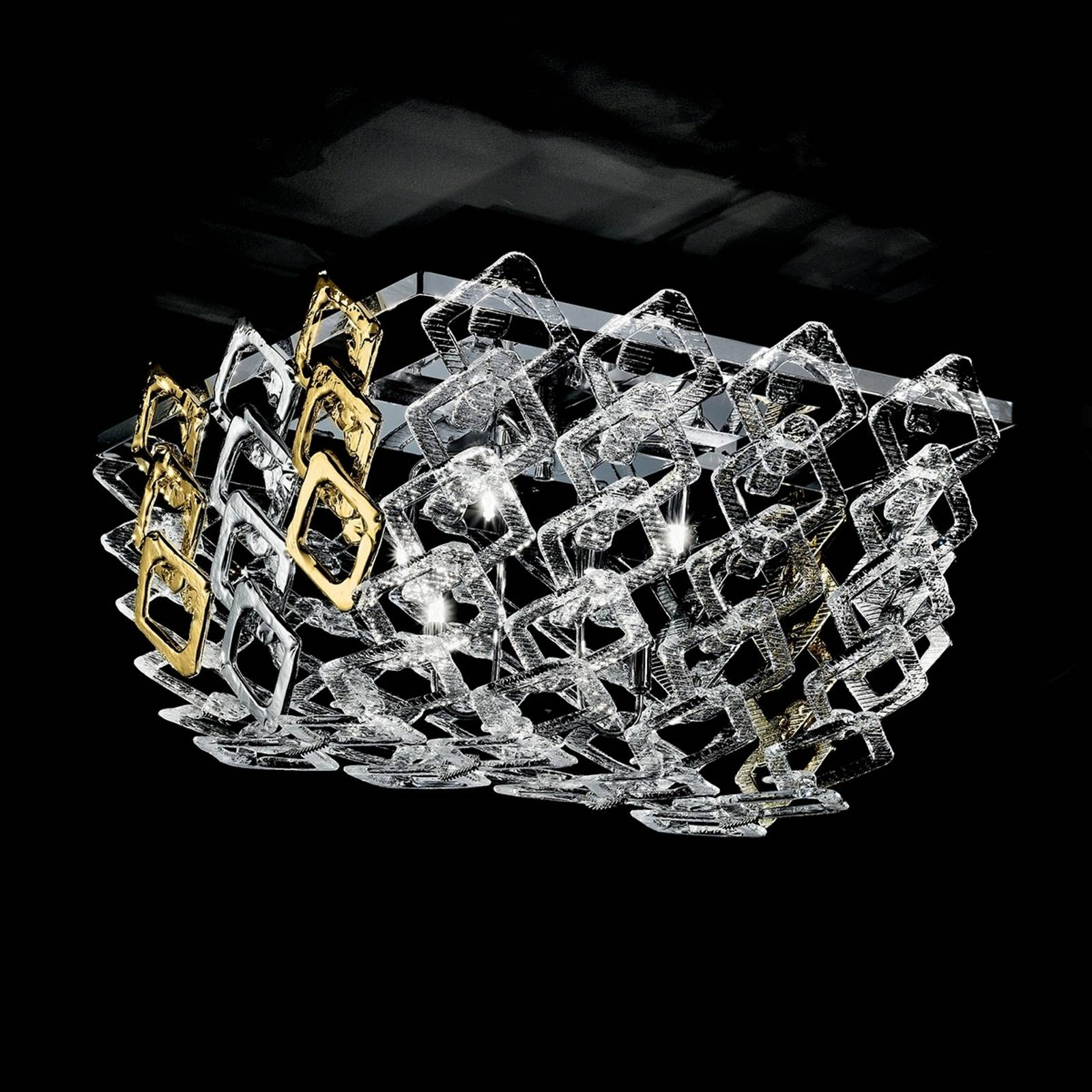 Murano glass ceiling light Quadrus from NOVARESI