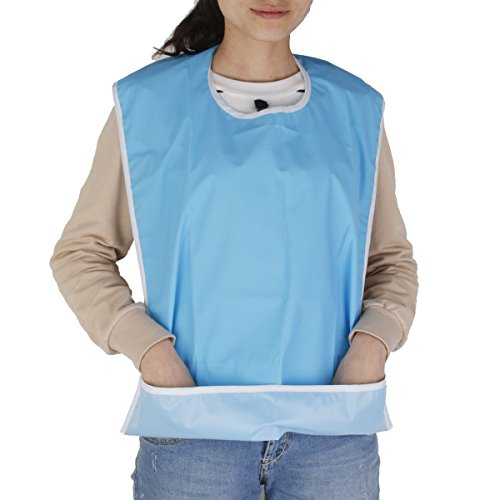 NUOLUX Bib for Elderly Waterproof Mealtime Bib Protector Aid Apron (Light Blue) from NUOLUX