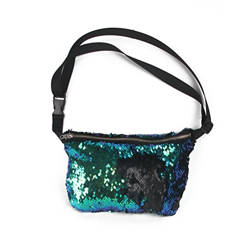 NUOLUX Double Color Sequins Waist Bag Casual Outdoor Sports Bag (Blue Green + Black) from NUOLUX
