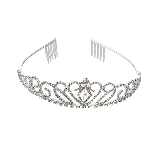 NUOLUX Princess Tiara Crown Hair Loop with Comb For First Communion Wedding Sliver from NUOLUX