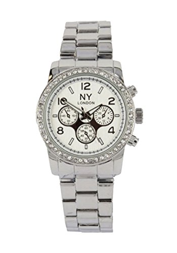 NY London Silver Crystal Bezel Beautiful Girls Ladies Gift Metal Band Watch from NY LONDON