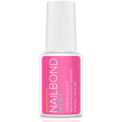 NYK1 Nail Bond Super Strong Nail Tip Bond Glue Adhesive with Brush - Perfect for False Acrylic Art Natural, Dimonties, Glitter, Rhinestones, Diamantes, White Clear Tip Applications - Anti Fungal from NYK1