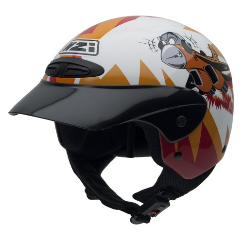 NZI Single Jr II Graphics Motorcycle Helmet, Orange/Red/Black/White Background, 52-53 from NZI