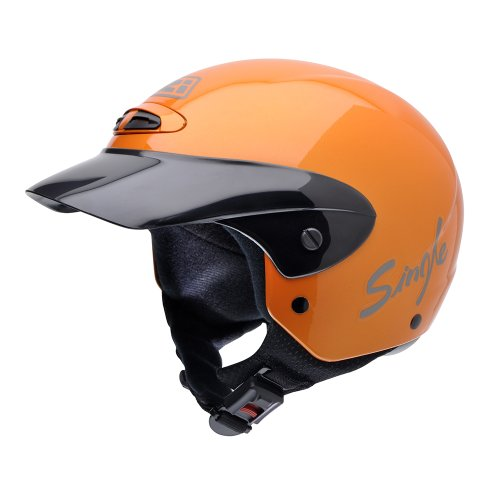 NZI Single Jr II Motorcycle Helmet, Orange, 55-56 from NZI