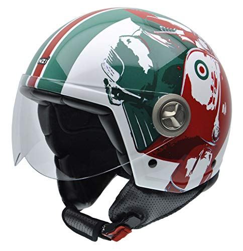 NZI Zeta Graphics Motorcycle Helmet, Scooter in Green/ Red Tones, 59 from NZI