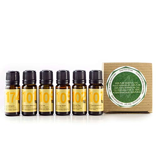 Naissance 100% Pure Essential Oil Gift Set – Top 6 essential Oils – Lavender, Sweet Orange, Lemongrass, Peppermint, Tea Tree, Eucalyptus from Naissance