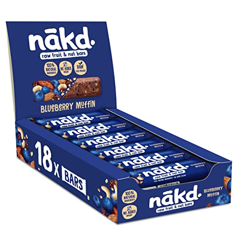 Nakd Blueberry Muffin Natural Snack Bars - Vegan Bars - Healthy Snack - Gluten Free Bars 35 g (Pack of 18) from Nakd