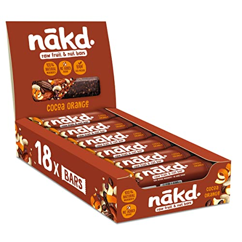 Nakd Cocoa Orange Natural Snack Bars - Vegan Bars - Healthy Snack - Gluten Free Bars 35 g (Pack of 18) from Nakd